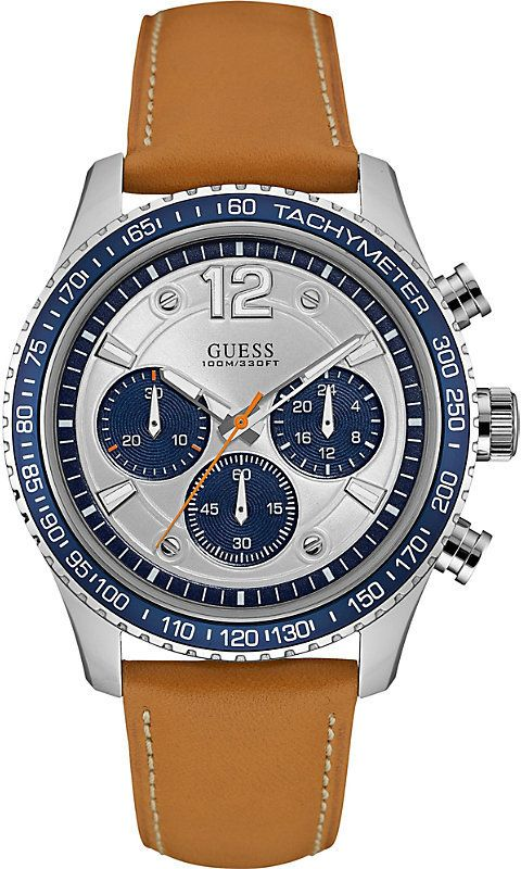 GUESS W0970G1 Fleet Chronograph BlueTachymeter Brown Leather Strap Men's Watch