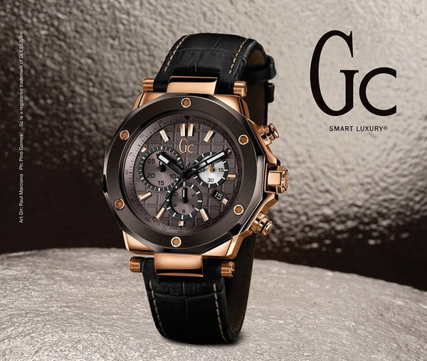 Guess Collection GC X72024G5S Rose Gold Chronograph Brown Dial Leather Men's Watch