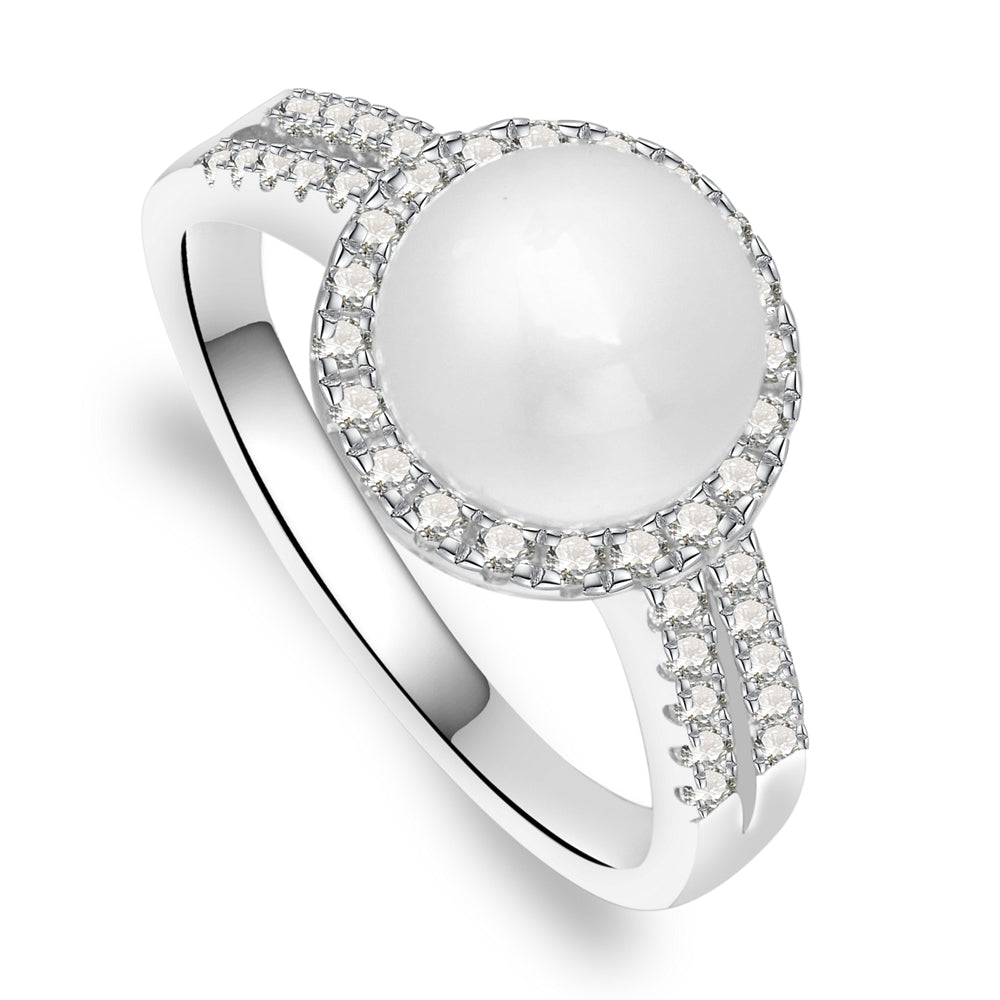 Rose Sterling Silver Ring With Pearl