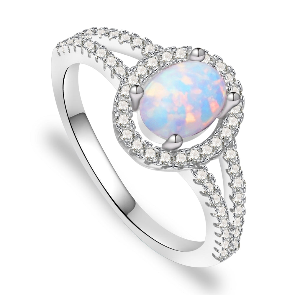 Brigette Sterling Silver Ring With Opal