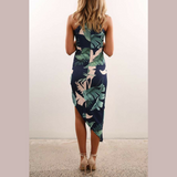 Palm Print Ruched Assymetrical Dress