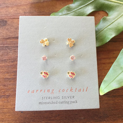 Sterling Silver Mixed Stud Earrings Set