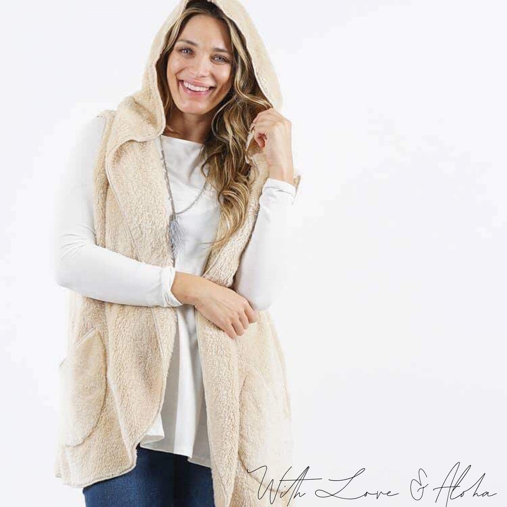 *PLUS* Faux fur Pocket Hooded Vest