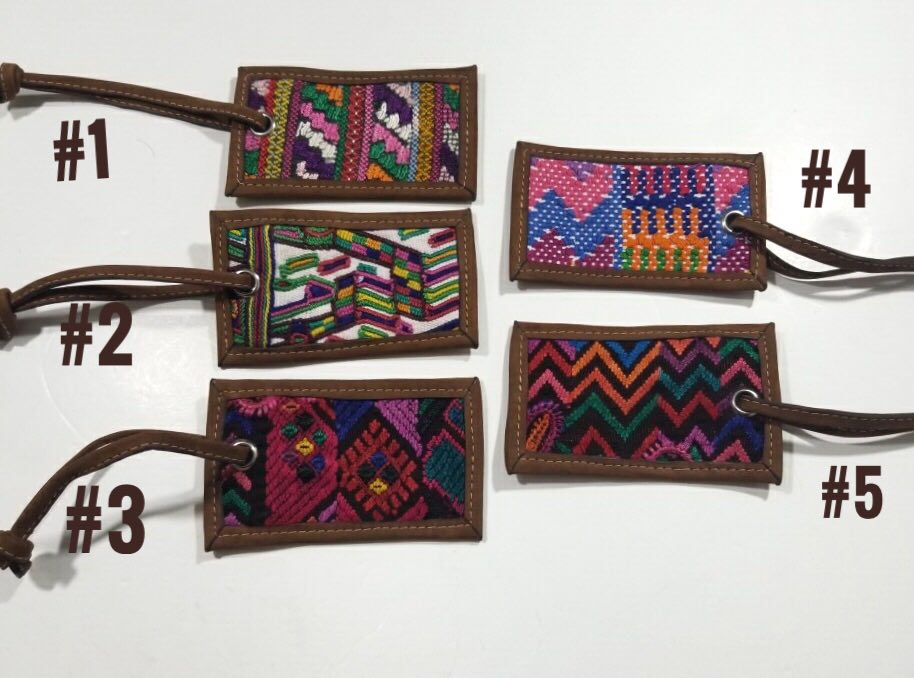 Leather & Huipil Luggage Tags