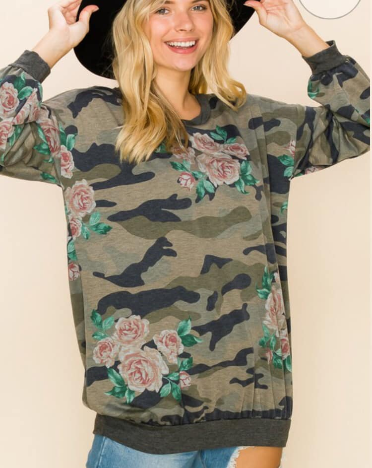 Lovely J Camo and Floral Sweater