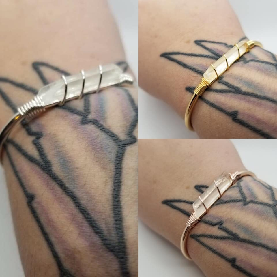 Wire Wrapped Quartz Cuffs