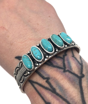 Natural Five Stone Turquoise Cuff