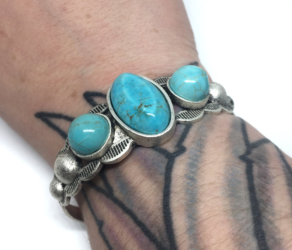Natural Turquoise Tri-Stone Cuff