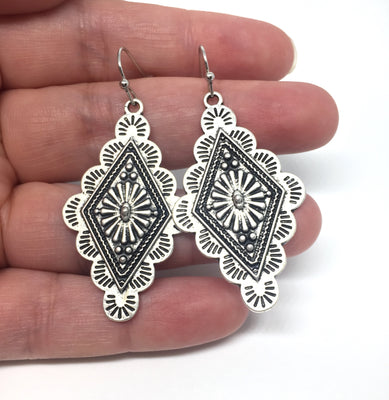 Silver Triangular Concho Earrings