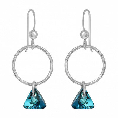 Hammered Hoop with Triangle Crystal Earrings - Bermuda Blue