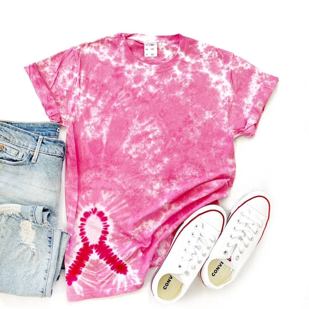 Tie Dye Graphic T-Shirt- Breast Cancer Awareness