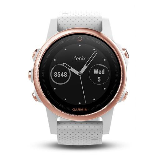 Garmin Fenix 5S Sapphire Wrist HR Watch Rose Gold with White Band