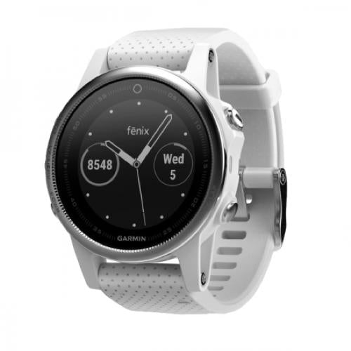 Garmin Fenix 5S Wrist HR Watch Silver with Carrara White Band