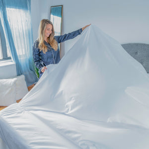 Kite Linens Stay-Tucked Design: easy on, and easy to make the bed with no tucking required - Just pull up, no tuck, and go!