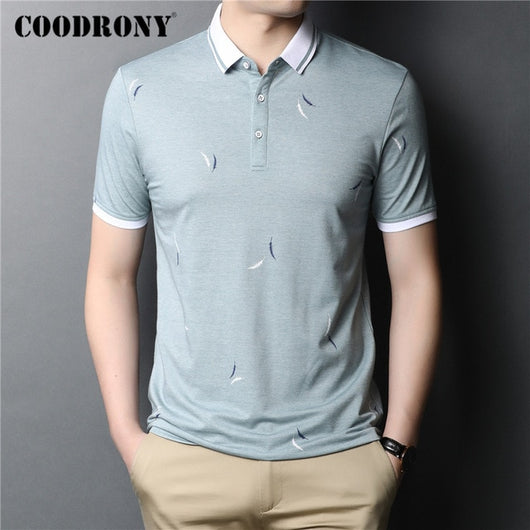 COODRONY T Shirt Men Spring Summer Short Sleeve T-Shirt Fashion Pattern Business Casual Turn-down Collar Tee Shirt Homme C5028S