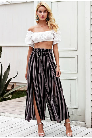 Split Striped Pants