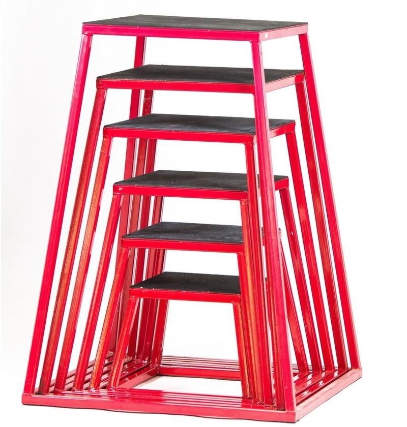 Red Metal A-Frame Plyo Boxes