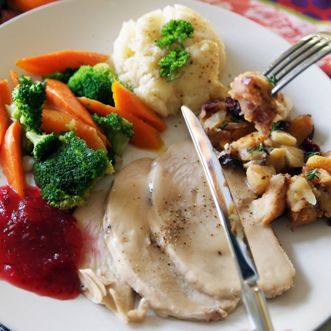Turkey Dinner for One-Available with Gluten Free Stuffung
