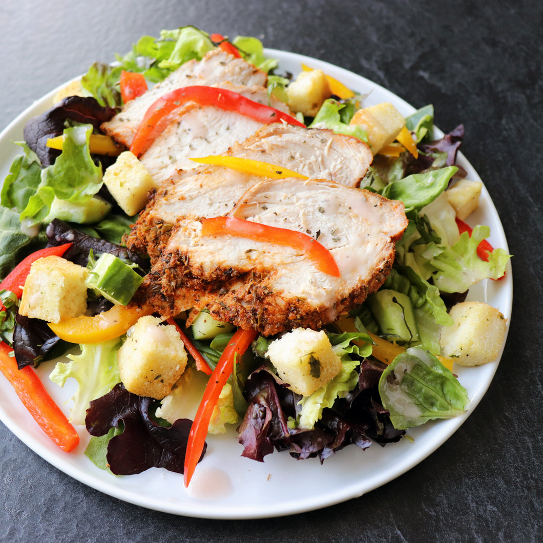 Mixed Green Salad with Blackened Chicken