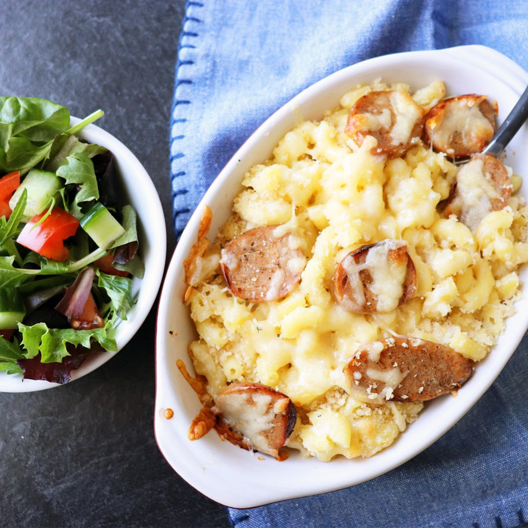 Macaroni and Cheese with Chicken Apple Sausage