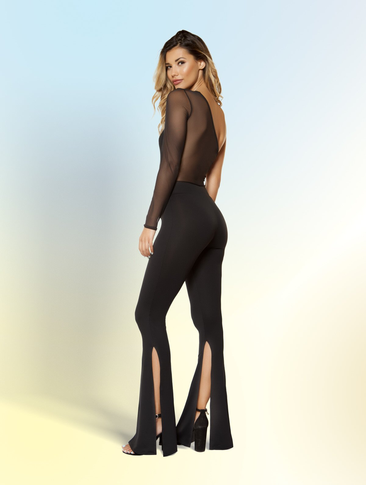 3399 - Single Sleeved Jumpsuit with Slit Bottoms - pink-ritual
