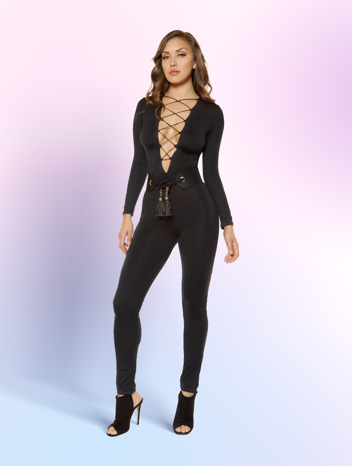 3401 - Strappy Lace-up Jumpsuit - pink-ritual