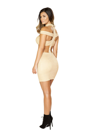 3524 - High Waisted Strappy Dress with Zipper Closure - pink-ritual