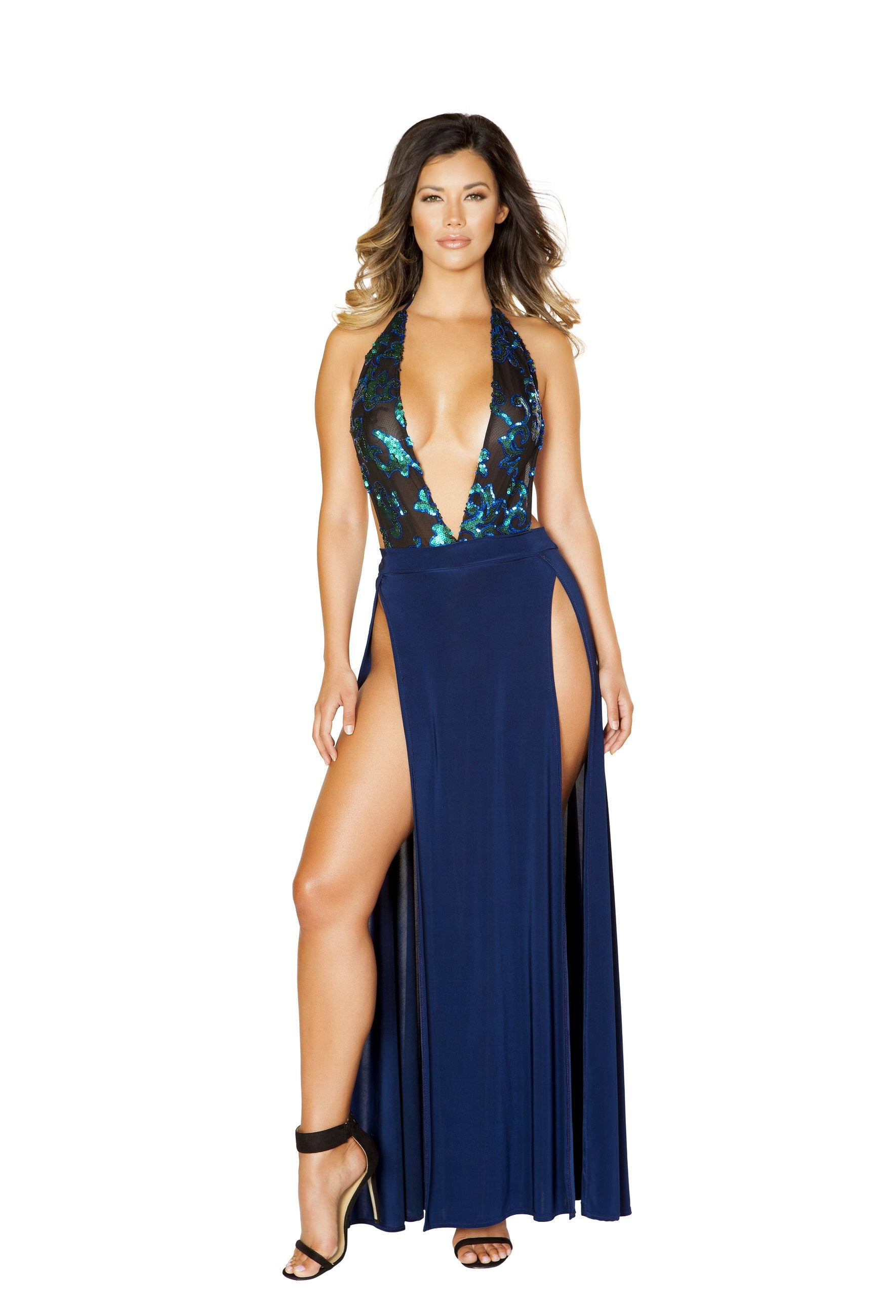 3527 - Includes Low Neck Sheer and Sequin Applique Romper and High Slit Skirt - pink-ritual