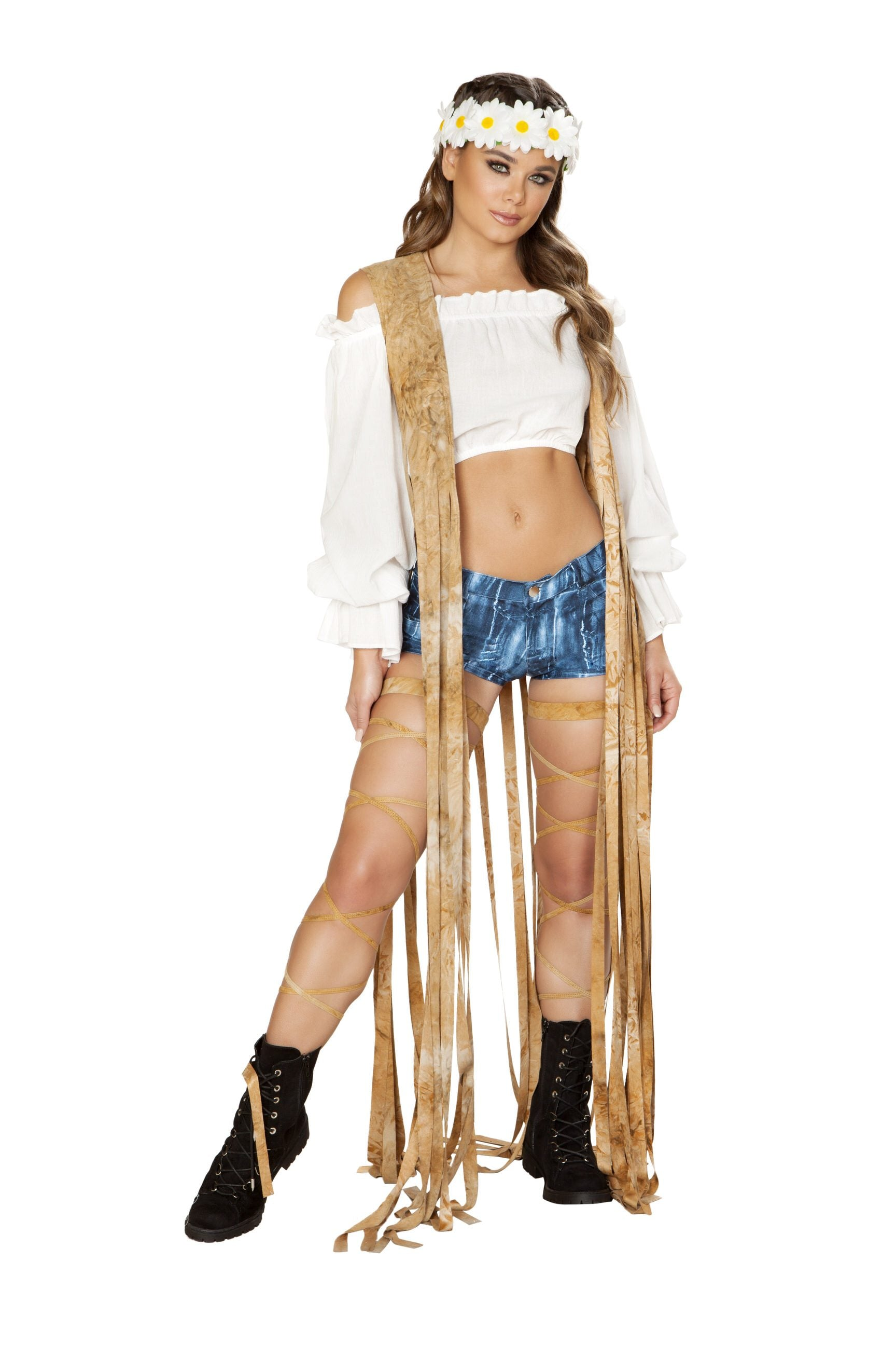 3588 - 1pc Brown Tie Dye Suede Vest with Long Fringe Detail - pink-ritual