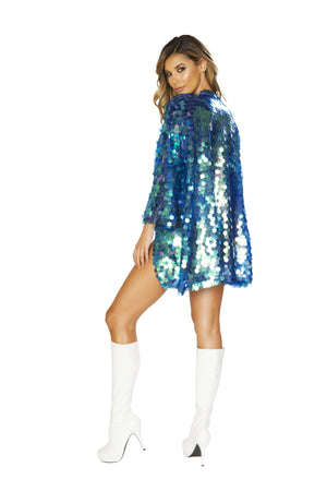 3666 - 1pc Iridescent Sequin Robe - pink-ritual