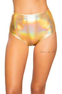 3753 - Shiny Metallic High-Waisted Shorts - pink-ritual