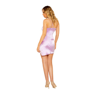 3781 - Satin Dress with Overlapping Scrunch Detail - pink-ritual