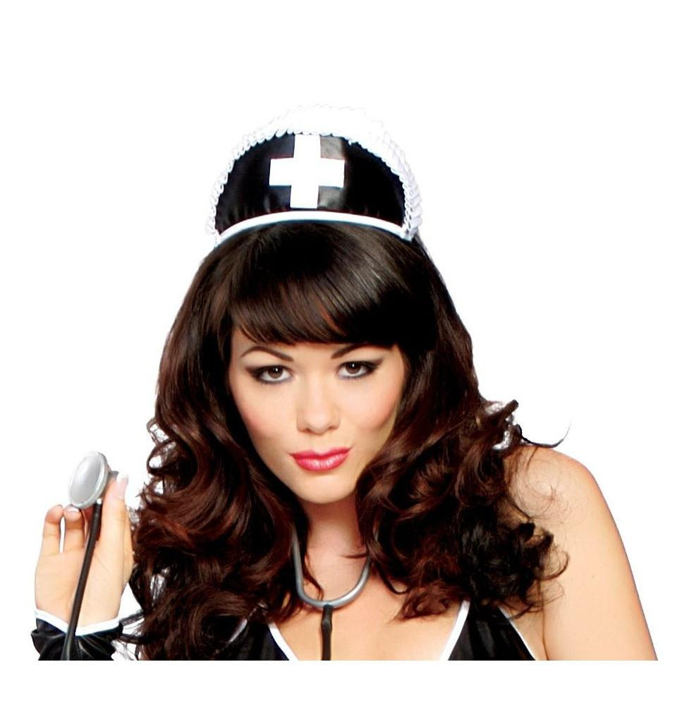 H113 Black Nurse Hat with Cross - pink-ritual