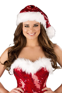 Fur Trimmed Sequin Christmas Hat - pink-ritual