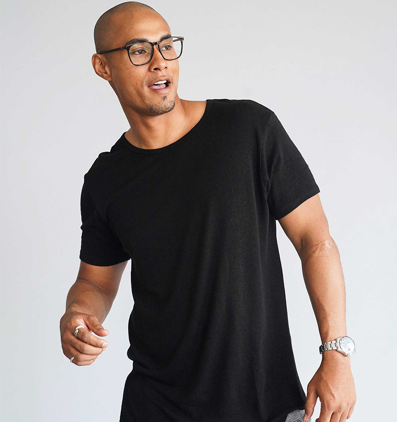 Bamboo Linen Short Sleeve Crew - Black