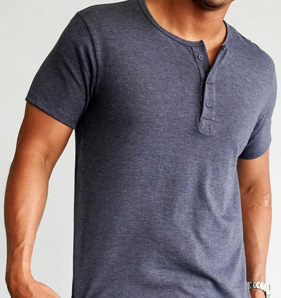 Modern Cototn Tri-blend Henley Heather Navy