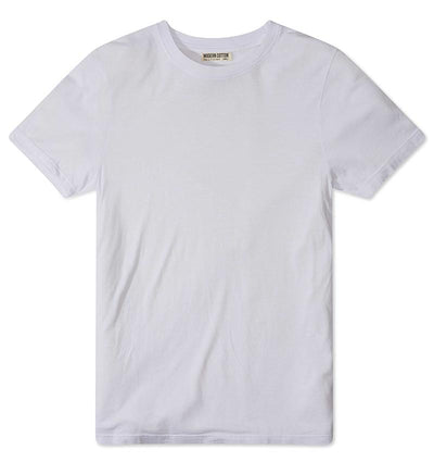 Modern Cotton Supima Micromodal Short Sleeve tee White flat lay
