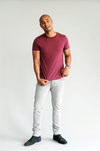 Modern Cotton Supima Micromodal Short Sleeve tee Merlot flat lay