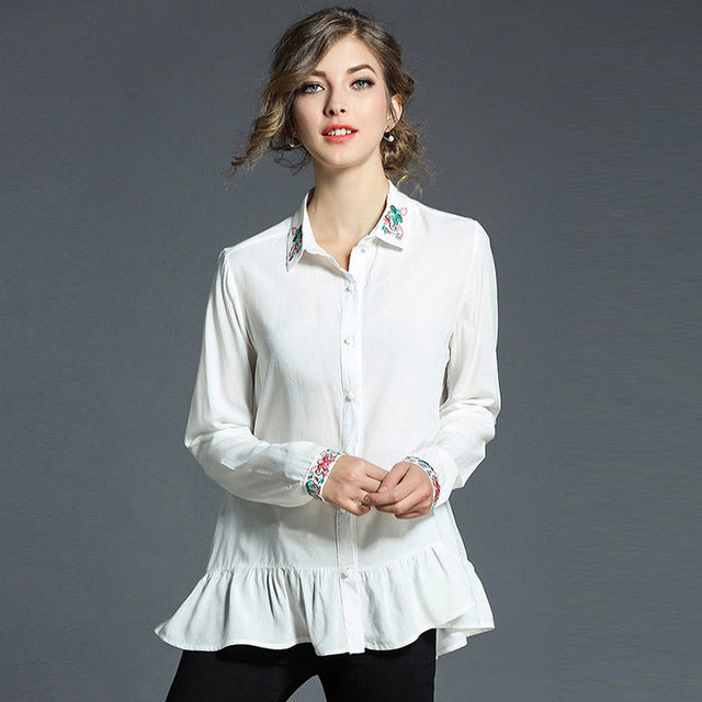 Chiffon Blouse Ruffles White Long Sleeve Casual Shirt 1efcb5a40