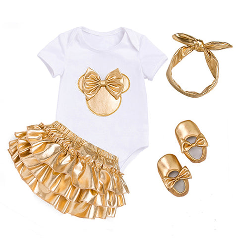Baby Girl Onesie With Gold Skirt and Matching Headband