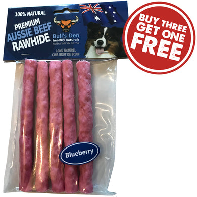 Organic & Natural Digestible Rawhide Crunchy Sticks Blueberry