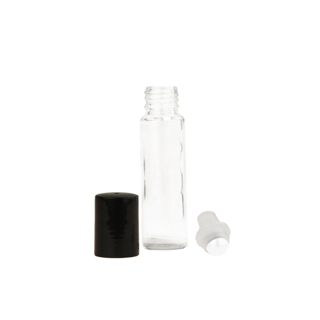 10 ml Clear Glass Roll-On Vials with (glass) Rollers and Black Caps (pack of 6)