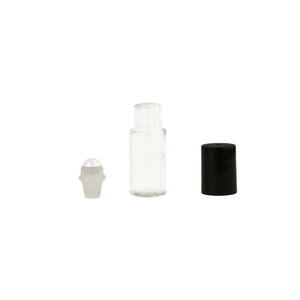 5 ml Clear Glass Roll-On Vials with (glass) Rollers and Black Caps (pack of 6)