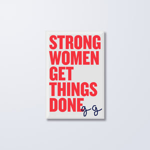 Strong Women Button Magnet