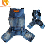 Denim Jumpsuit Pet Clothes For Fog Small Dog Hoodies Jean Jacket Four Legs