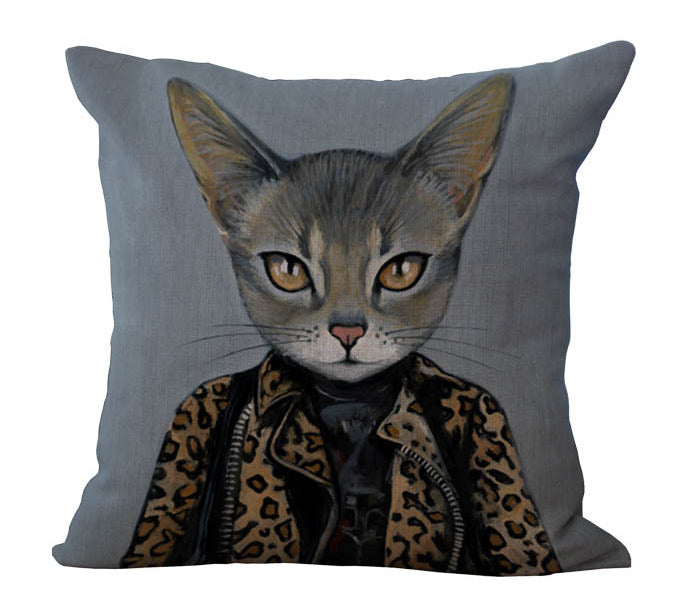 Leopard-Print Black Cat  Massager Decorative Pillow