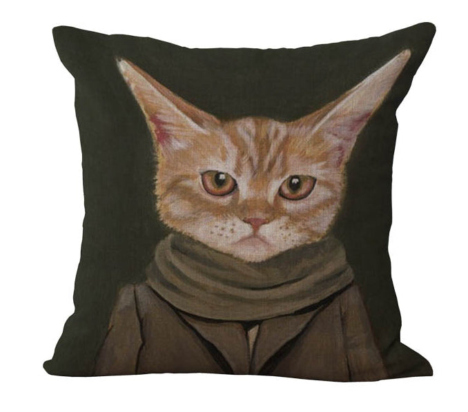 Grey Coat Grey Scarf Brown Cat Massager Decorative Pillow