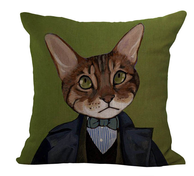 Black Gift Green Eyes Brown Cat Massager Decorative Pillow