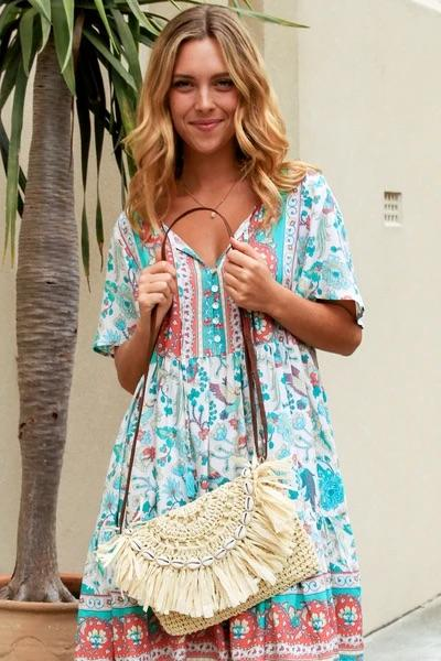 Natural Tassel Shoulder Bag
