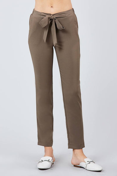 Front Ribbon Tied Pegged Long Pants - Allinacinnamon